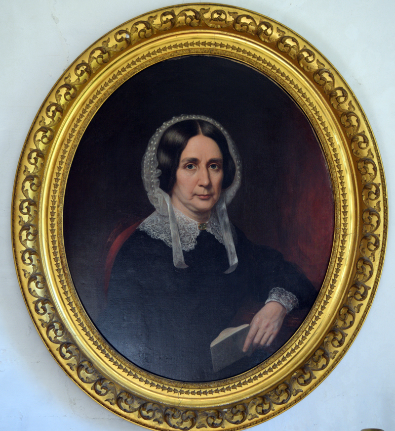 A portrait of Rebecca Johnson Prescott hangs in the first floor parlor of the Pownalborough Court House in Dresden. Aileen and David Edge donated the painting, which they drove cross-country from their home in Washington state. (Nate Poole photo)