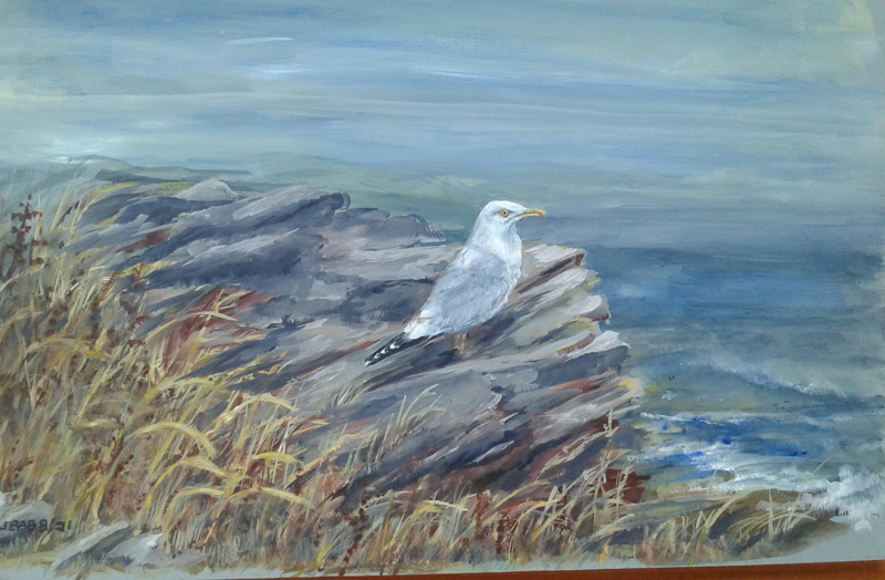 """""""Johnathan II,"""" by Julie Babb. The painting replaces one of Babb's that was lost in the September 9, 2020 fire that destroyed the historic Seagull Shop at Pemaquid Point in Bristol. (Photo courtesy Julie Babb)"""