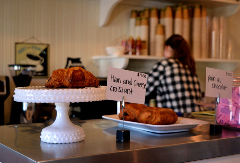Among the baked goods for sale at Kneaded Provisions on Rutherford Island are ham and cheese croissants and pain au chocolat. (Nettie Hoagland photo)
