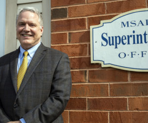 RSU 40 Superintendent Steve Nolan outside the district office in Union on May 6. The district's five towns will vote on its 2021-22 budget Tuesday, June 8. (Bisi Cameron Yee photo)