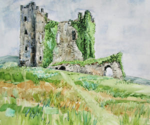"""""""Ballycarbery Castle, County Kerry, Ireland,"""" watercolor by Gwendolyn Evans."""