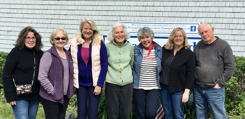 From left: The new artists at the Pemaquid Art Gallery are Gwendolyn Evans, Candace Vlcek, Kimbery Skillin Traina, Brooke Pacy, Alexandra Perry-Weiss, Sherrie York, and John Butke. Not pictured are Hannah Ineson and Carol Wiley.