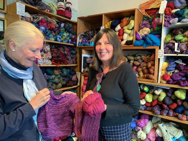 Pine Tree Yarns manager Linda Perry (left) and owner Elaine Eskesen in the shop on Main Street in Damariscotta.