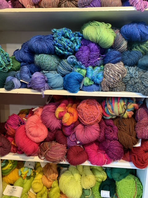 Colorful yarns on display at Pine Tree Yarns in Damariscotta.