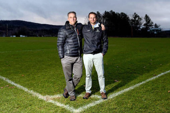 Long-time friends and soccer coaches Jeff Burroughs (left) and Steve Levesque will offer a soccer camp at Lincoln Academy this summer for players in grades 3-8.
