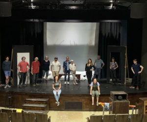 """The cast and crew of """"Almost, Maine"""" on stage at the Waldo Theatre."""