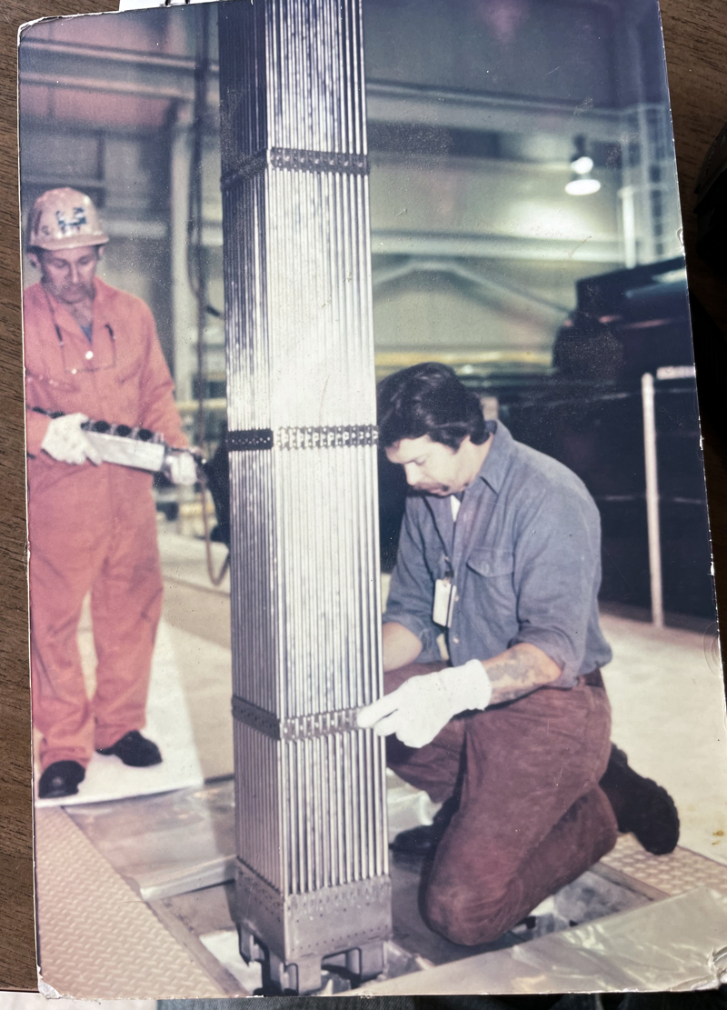 A picture of Alna resident Herman Lovejoy (left) working at the Maine Yankee power plant in Wiscasset. Lovejoy began working there full time in 1982 and took an early retirement when the plant closed in 1997. (Evan Houk photo)