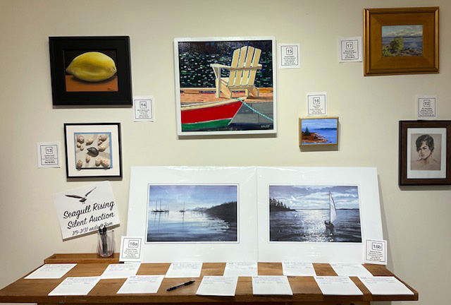 A selection of the artwork donated to Saltwater Artists Gallery's silent auction to benefit the Seagull Shop and Restaurant. (Photo courtesy Saltwater Artists Gallery)