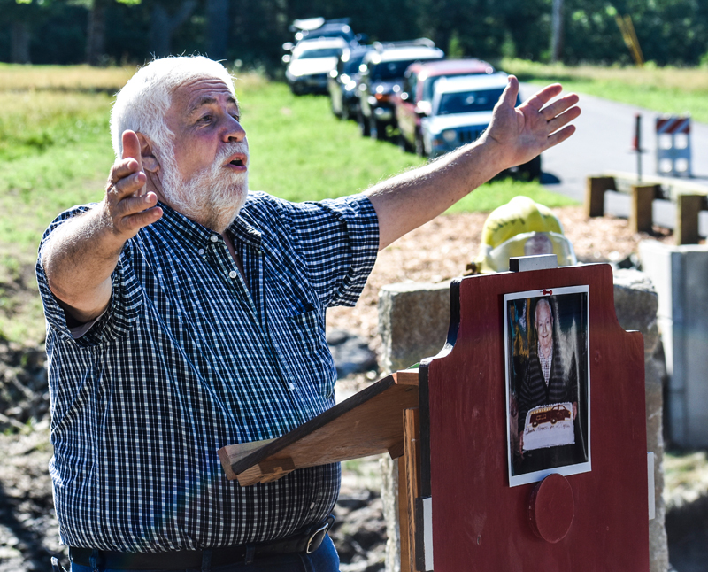 Bremen Selectman Hank Nevins welcomes attendees to the dedication ceremony for the new Heath Road bridge in Bremen in 2018. Nevins recently resigned from the Bremen Board of Selectmen after serving for more than 20 years. (LCN file photo)