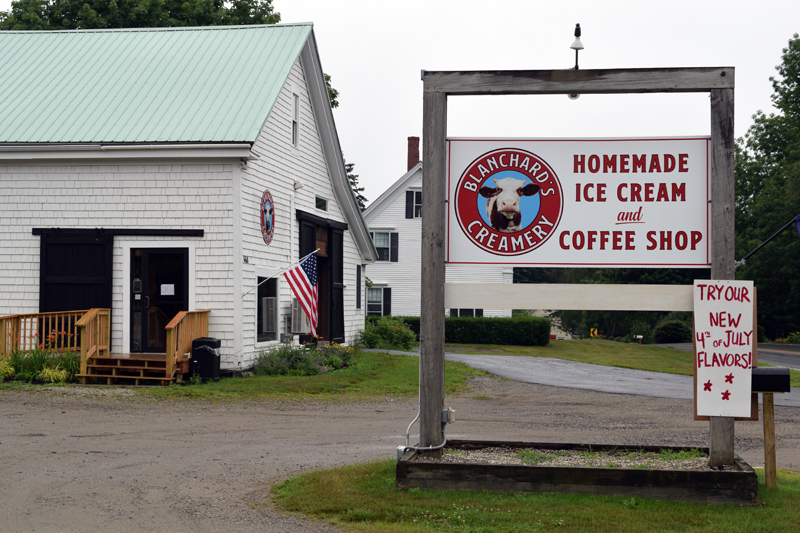 The sign for Blanchard's Creamery at 660 Boothbay Road in Edgecomb. Owner Mary Blanchard first happened upon the barn that would become her ice cream and coffee shop on a bike ride from her mother's house a year ago. She said she knew it would be perfect the second she walked in. (Nate Poole photo)