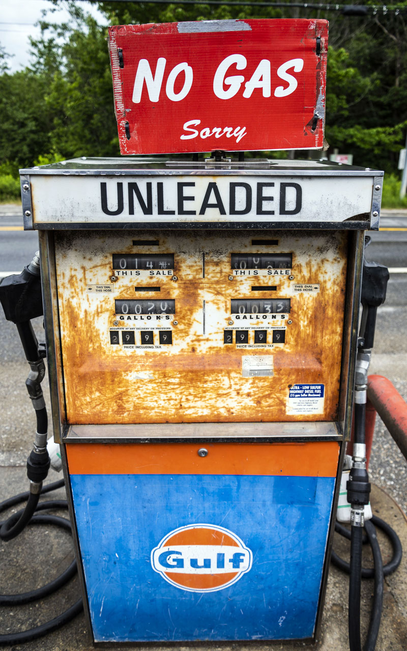 A rusted vintage gas pump stands empty outside All Seasons Automotive in Jefferson on Friday, June 25. The gas station once had commercial accounts for 1,000 gallons a week. (Bisi Cameron Yee photo)