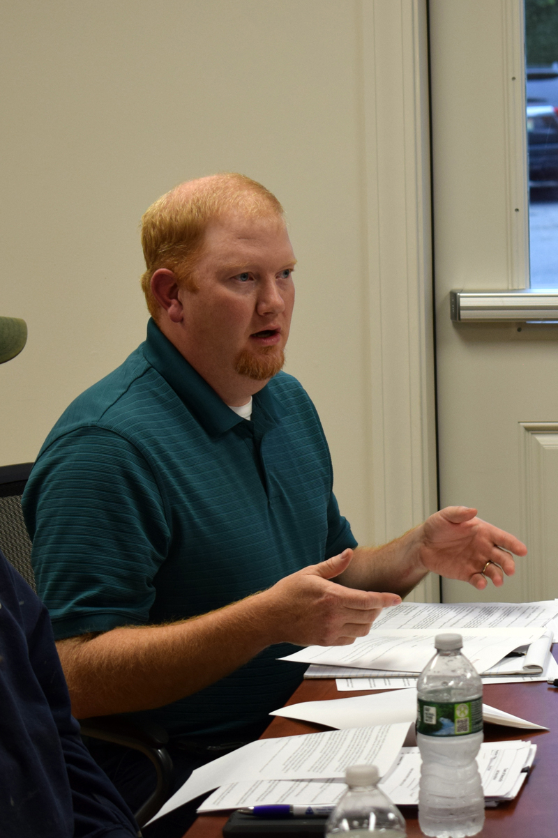 Newcastle interim Fire Chief Casey Stevens discusses the possibility of transitioning to an all-volunteer fire department at a workshop between firefighters and the Newcastle Board of Selectmen on Wednesday, July 14. (Evan Houk photo)