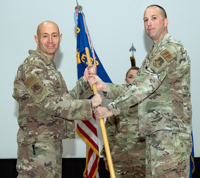 U.S. Air Force Lt. Colonel Greg Ward (right) relinquishes command to U.S. Air Force Col. Joshua Pyers during a ceremony held at Ali Al Salem Air Base in Kuwait on July 2. (Photo courtesy Lt. Colonel Greg Ward)