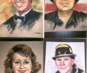 Pastel portraits painted, gratis, by Gwendolyn Evans, from photos sent to her by the victims' families of the 9/11 tragedy.
