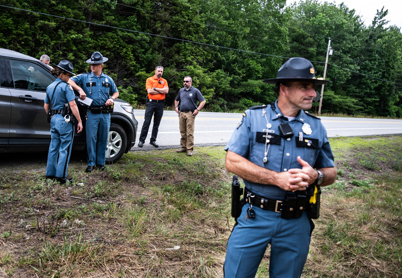 Officers and investigators from the Maine State Police and the Lincoln County Sheriff's Office arrive at the scene of a homicide in Somerville on Wednesday, June 30. (Bisi Cameron Yee photo)