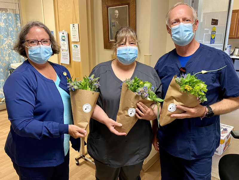 During each week of the summer flower season Veggies to Table donates a few bouquets to be randomly given to nurses at LincolnHealth to boost their day. (Photo courtesy Veggies to Table)