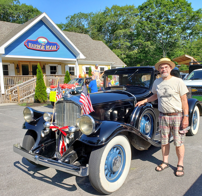 """John C. Harris, of South Bristol, with his 1932 Pierce Arrow, recipient of the popular """"Kids' Pick"""" trophy in 2019 at the Olde Bristol Days Vintage Car Show."""