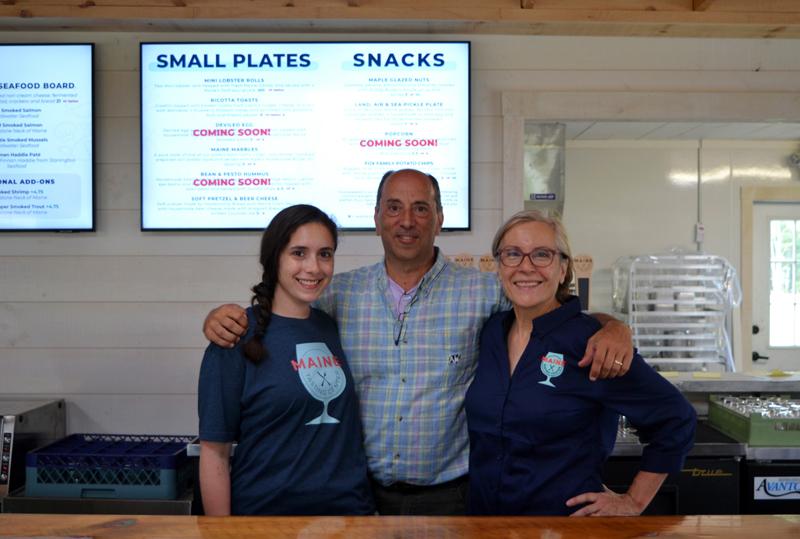 From left: Sarah Gross, Andrew Gross, and Elizabeth Gross own the Maine Tasting Center in Wiscasset. (Nettie Hoagland photo)