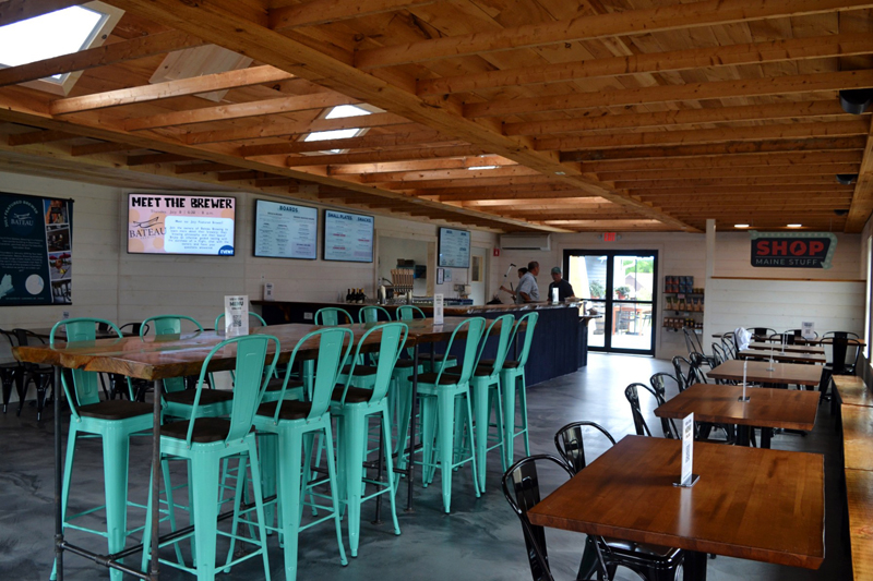 Inside the tasting room at the Maine Tasting Center in Wiscasset. Visitors can enjoy Maine beverages and small plates that highlight ingredients from Maine farms and producers. (Nettie Hoagland photo)