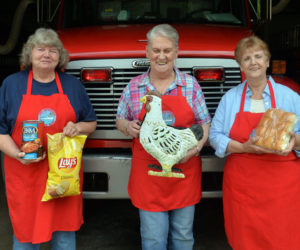 Bremen Fire Department Auxilliary members Kathy Teele, Bonnie Poland and Joan Teele are gearing up for their annual chicken BBQ to be held on Sat., July 24. (Paula Roberts photo)