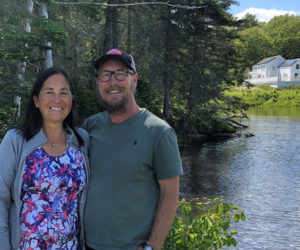 Aiko Pandorf and Scott Peterson are seasonal caretakers at Damariscove Island this summer.