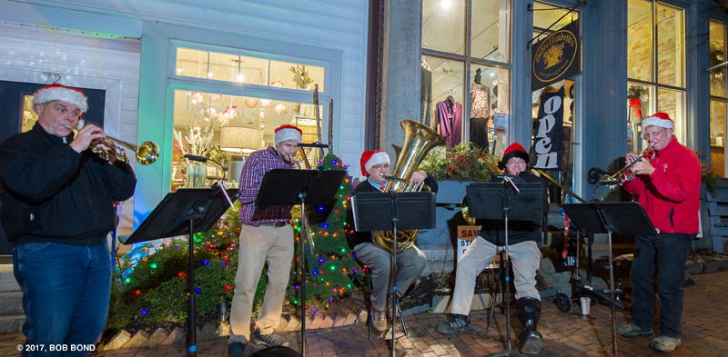 Downeast Brass plays during Wiscasset Holiday Marketfest, 2017. (Photo courtesy Bob Bond)