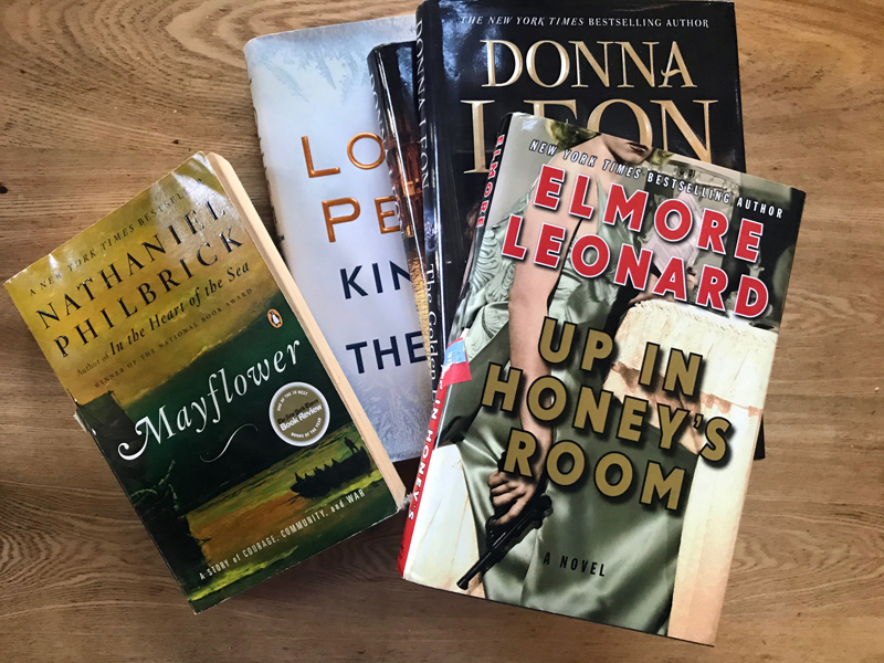 A sampling of books you may find at the Mystery and History sale at the Village Bookshop in Waldoboro.