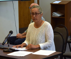 Mary Anne Moisan, of the Damariscotta Region Safety and Accessibility Collaborative, presents the results of a 16-question bicycle survey to the Damariscotta Board of Selectmen on Wednesday, Aug. 4. The survey indicated a desire of cyclists for wider shoulders, more dedicated bicycle routes, and more bike racks in town. (Evan Houk photo)