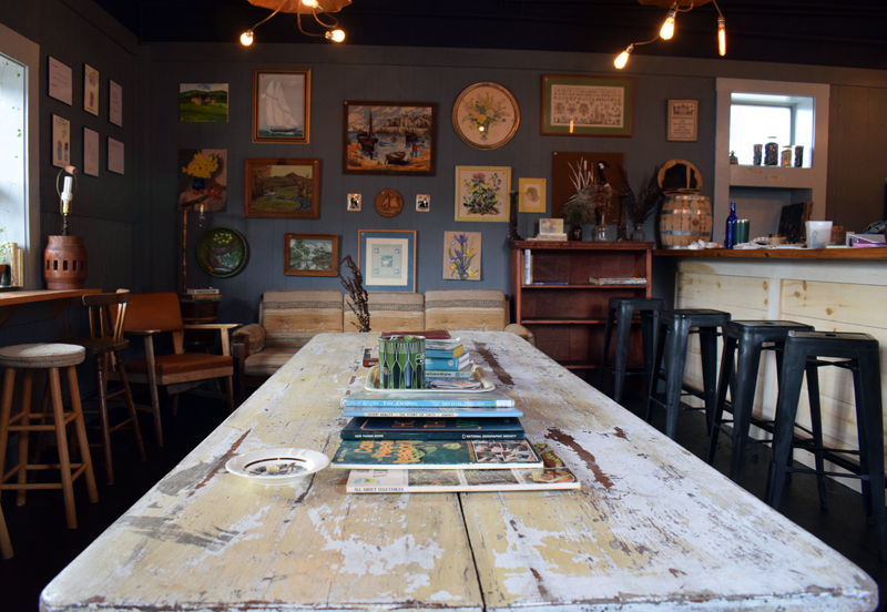 The Maine Booch hard kombucha tasting room offers vintage artwork, magazines, books, and glassware for sale, as well as three different types of hard kombucha on tap.  (Evan Houk photo)