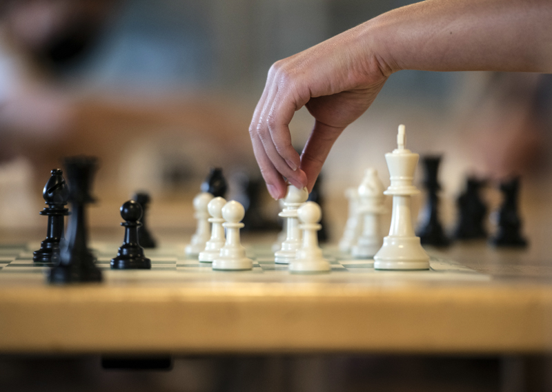 A white bishop goes on the attack during a chess club meeting in Jefferson on Tuesday, August 3. The club meets every Tuesday and is open to all ages and skill levels. (Bisi Cameron Yee photo)