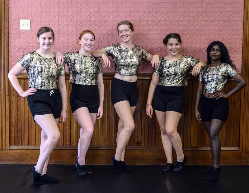 From left: Christina Pagurko, 13, Michaela Lacrosse, 16, Elle Stevens, 16, Mya Krawic, 13, and Sopna Atkinson Tatro, 19, at the new DanceMaineia studio in Waldoboro. The five students were there to practice a jazz routine for an upcoming performance at the Waldo Theatre. (Bisi Cameron Yee photo)