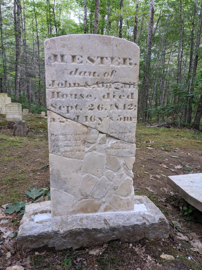 A photo of the headstone of Hester House, who died in 1842 at the age of 16, after it had been put back together.