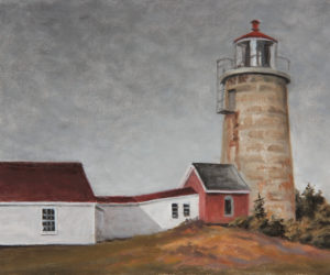 """""""Monhegan Light in Gray,"""" by Will Kefauver, is an example of the island-themed work called for in """"Monhegan & the Islands."""" (Courtesy of Kefauver Studio & Gallery)"""