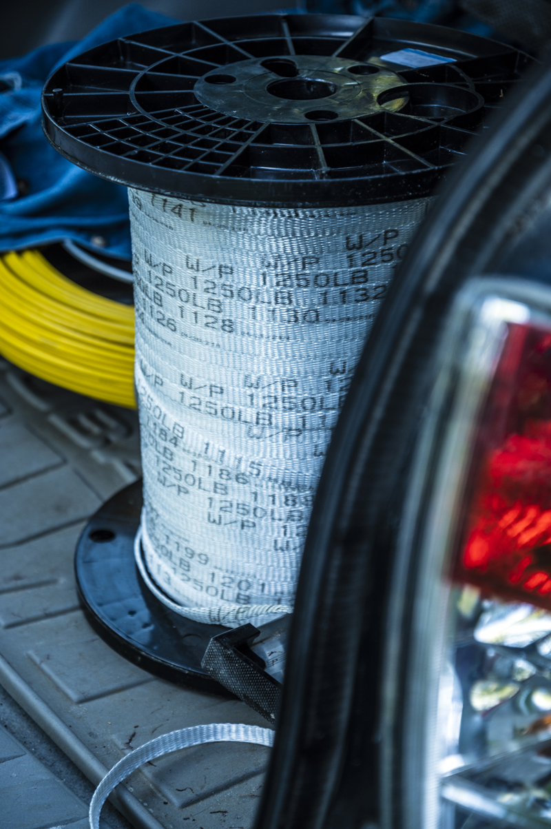 A spool of tape sits in the trunk of a car in Bremen on Tuesday, Sept. 7. The tape is being used by members of the Bremen Broadband Committee to prepare homes for fiber installation. (Bisi Cameron Yee photo)