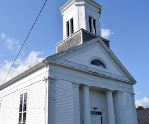 The White Church in Round Pond, seen on Tuesday, Aug. 31, has been puchased by the Helping Hands of Round Pond and will be renovated and converted into the Round Pond Meeting House, a community gathering place. Once the group receives nonprofit status, it will begin a capital campaign to raise funds for the renovations. (Evan Houk photo)