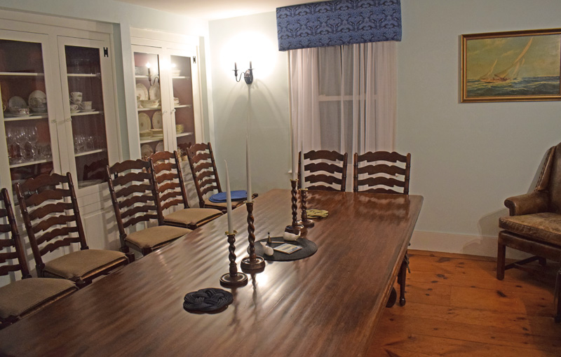 The dining room at the Harbor View House in Round Pond. Most of the furniture and decorations are recent additions from new owners Jim and Sarah Matel, who turned the former Round Pond Inn into a full-house rental for families and large parties. (Evan Houk photo)