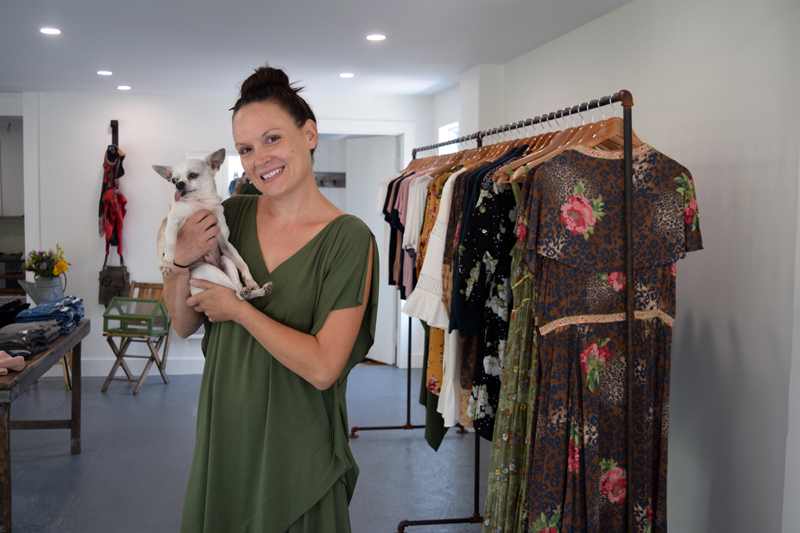 Emily Davey opened her boutique at 74 Main Street on Aug. 20 with her 18-year-old Chihuahua, Ernesto, following months of preparation and renovation. (Nate Poole photo)