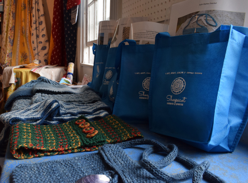 Sheepscot Harbor Yarns at 74 Main Street in Damariscotta offers many different homemade knitting kits and patterns as well as hand-dyed indigo yarn made by owner Linda Perry. (Evan Houk photo)