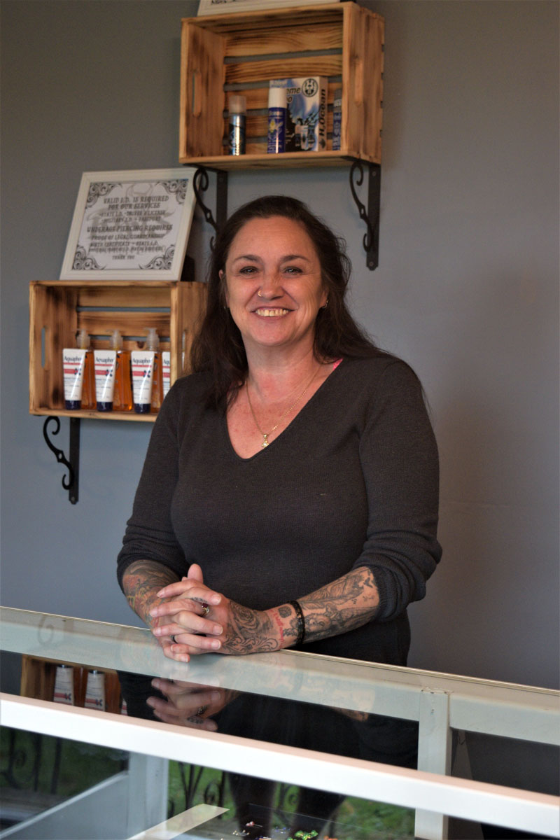 Kat Stewart officially opened Kat's Piercings and Tattoos on Aug. 25 after a summer of substantial renovations to her shop's location at Twisted Iron Customs on Route 1 in Edgecomb. (Nate Poole photo)