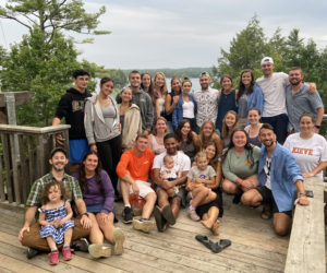 Members of the original session of the 9/11 Family Camp pose for a photo 19 years later at Camp Kieve in August of 2021. (Photo courtesy Kieve Wavus Education)