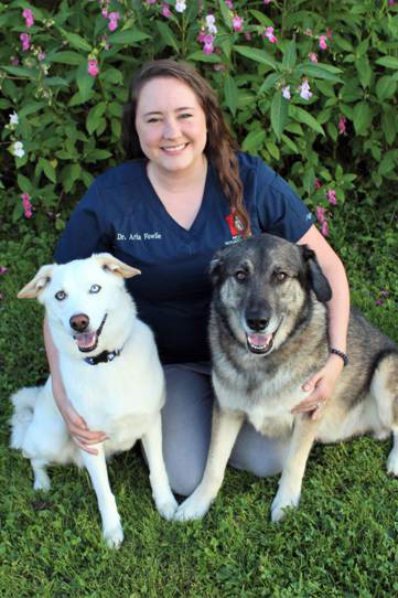 Dr. Aria Fowlie and her dogs Naga and Hercules. (Photo courtesy Medomak Veterinary Services)