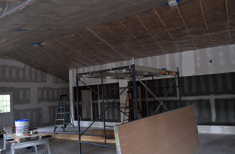 The interior of the new building that will house Delano Seafood Market in Waldoboro and offer twice as much retail space is still under construction and expected to be ready by October. Co-owner Kendall Delano Jr. said he plans to offer more types of fish, Delano merchandise, and Maine-made novelty items in the new space. (Evan Houk photo)