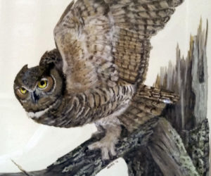 A donated painting of an owl by Julie Babb. All proceeds from sale go toward outreach projects.