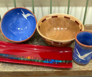 Pottery by Libby Seigars, turned wooden bowl by Tom Raymond, and glass work by Pam Wilcox are among the items that can be viewed at the Saltwater Artists Gallery.
