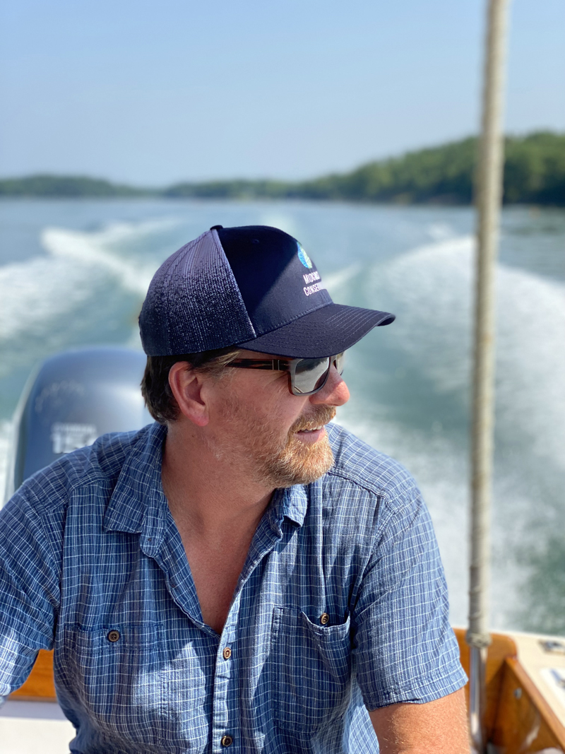 Midcoast Conservancy Executive Director Pete Nichols on the Sheepscot River. (Photo courtesy Tim Trumbauer)