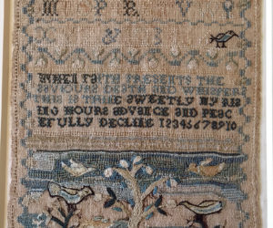 An example of the samplers in the Lincoln County Historical Association collection that will be on display for Susan Jerome's presentation.