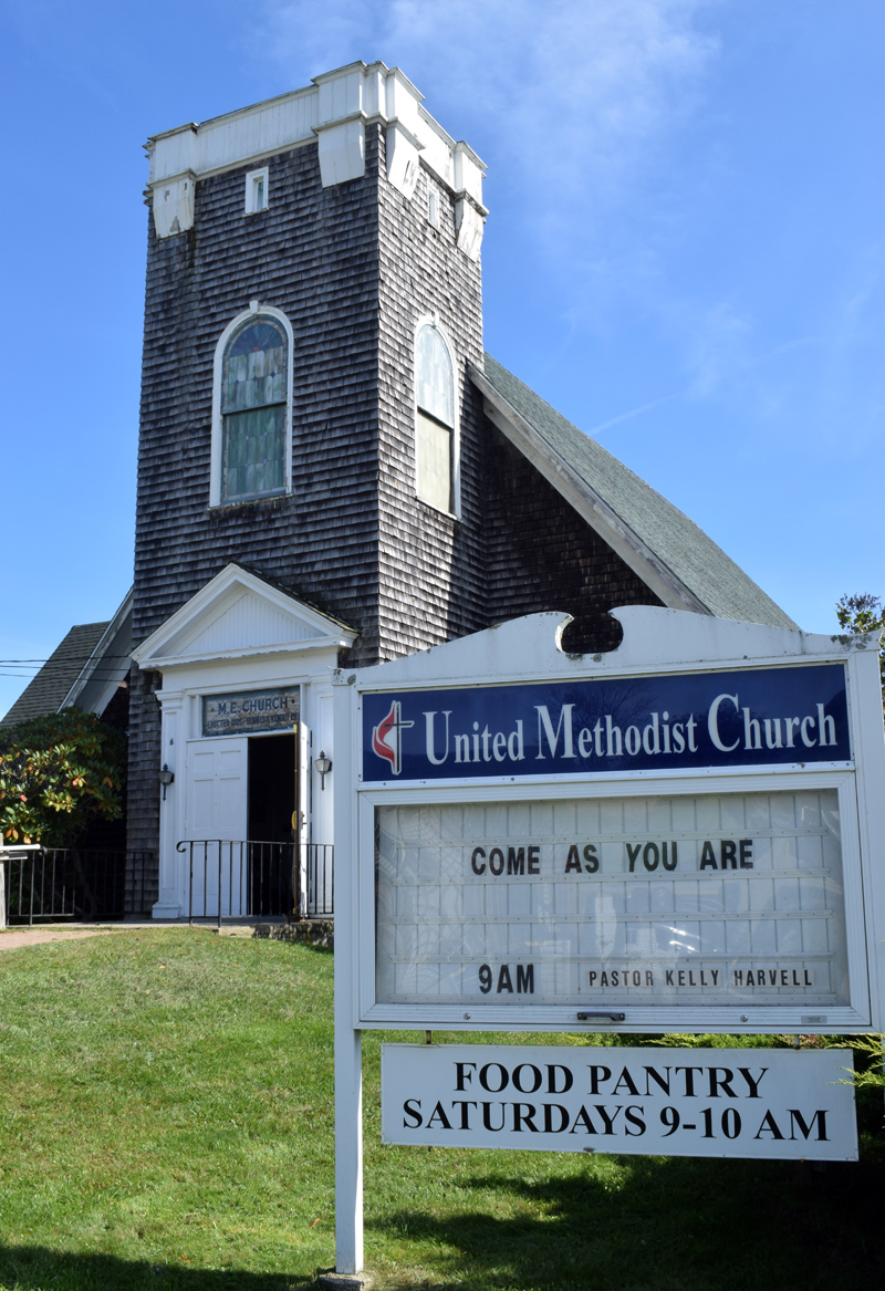 The New Harbor United Methodist Church, sans bell tower, on Monday, Oct. 4. The bell tower was removed in 2016 and the church is restarting a capital campaign to install a new closed tower and make other improvements to the 1911 building. (Evan Houk photo)