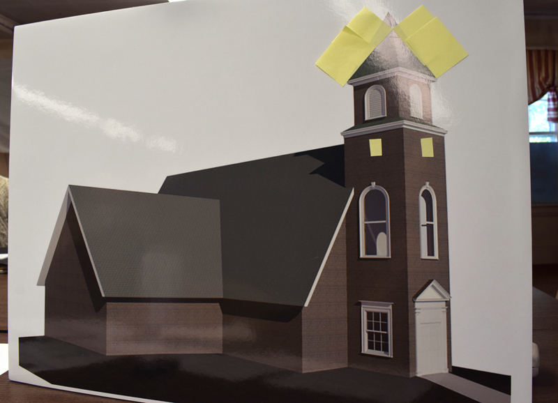 An architectural rendering shows the design for a new closed bell tower on the New Harbor United Methodist Church. The image will be installed in front of the church as part of a renewed capital campaign to raise approximately $300,000 for the new tower and other improvements to the 1911 building. (Evan Houk photo)