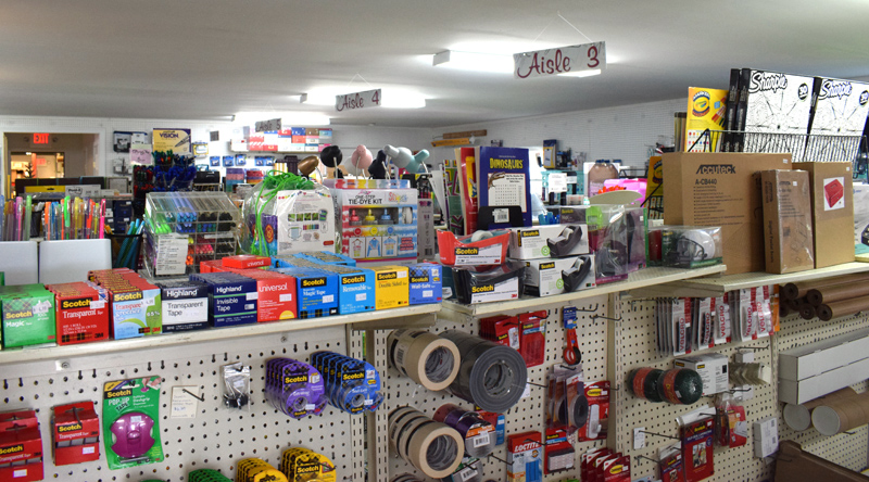 The interior of Supplies Unlimited in Damariscotta offers an array of office and craft supplies, as well as a full print shop. New owner, Stephanie Reichard, the daughter of the store's founder Jane Oliver-Gravel, said she plans on maintaining the status quo at the popular store. (Evan Houk photo)