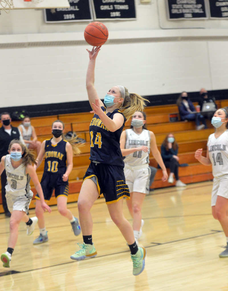 Paris Pierpont plays in a basketball game against Lincoln Academy on March 2. Pierpont died in a car crash late Sunday, Oct. 10. (Paula Roberts photo, LCN file)